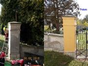 Oprava sloupů na hřbitovní zdi 2015